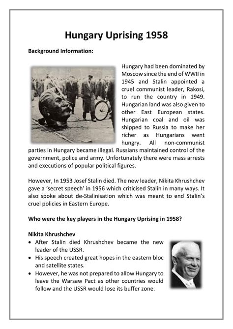 Hungary Uprising 1958 Facts & Worksheet | GCSE Lesson Guide