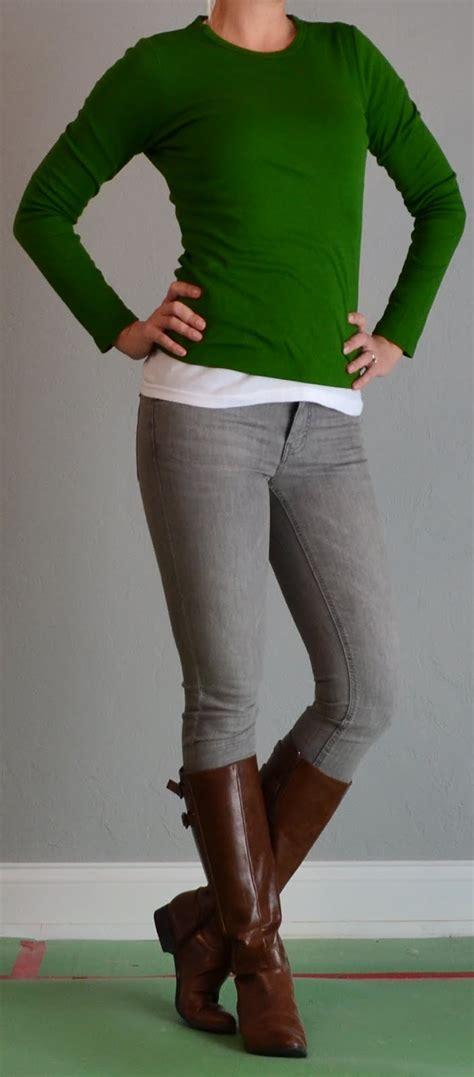 outfit posts: green shirt, grey jeans, brown boots